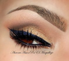 Navy and Gold eye makeup