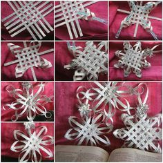Woven paper snowflakes