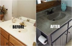 Home Improvement DIY: BATHROOM on a budget; the trick to updating your outdated vanity for bathroom ideas, concrete countertops, countertops, diy, home improvement Home Upgrades, Home Improvement Projects, Home Projects, Home Renovation, Home Remodeling, Remodeling Costs, Kitchen Remodeling, Home Repair, Simple House