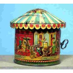 Unknown Tin-Penny Toy Carousel with red deer, horse, lion, swan and car passenger