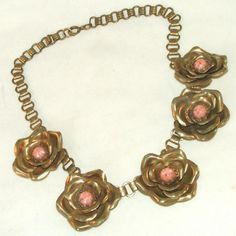 """Brass Cabbage Rose & Pink Coral Speckled Glass Centers Bookchain Antique Necklace.  See this fabulous bookchain antique brass cabbage rose necklace for sale at the """"Vintage Jewelry Stars"""" shop at http://www.rubylane.com/shop/vintagejewelrystars!!"""