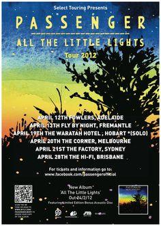 Passenger - All the little lights tour Lights Tour, Music Posters, Brisbane, Touring