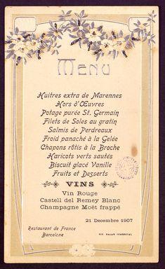 Menú del Restaurant de France de Barcelona, 21 de desembre de 1907