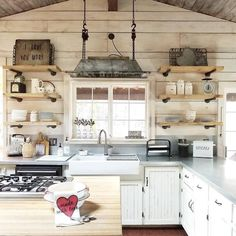 This is one amazing So many creative touches, so much rustic chic style, all beneath that gorgeous rustic wood-planked ceiling. Thx for including AFH here too! Antique Kitchen Cabinets, Rustic Cabinets, Kitchen Cabinet Design, Kitchen Dining, Kitchen Decor, Kitchen Ideas, Rustic Kitchen, Breakfast Bar Lighting, Dining Room Inspiration