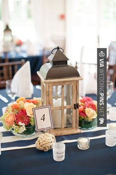 Love this - Vintage Nautical Weddings - Wood lantern centerpieces | Coral Navy…