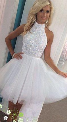 Short White Beading Prom Homecoming Dresses 948803218039