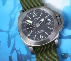"""""""Somethings iN The Water!"""" Officine #Panerai 44mm Luminor GMT Anthracite E Series 2002 Ref#: PAM 89   ($5,275.00 USD) http://www.elementintime.com/Officine-Panerai-Luminor-GMT-PAM-89-Titanium-Anthracite-Dial"""