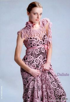 crochet lace dress with flowers and leaves