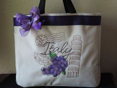 Italy grapes Tote Bag by OutrageousEmbroidery on Etsy very nice