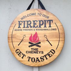 Rustic wood firepit sign handmade and customized by AnniesBarn