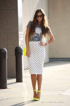 polka dots pencil skirt