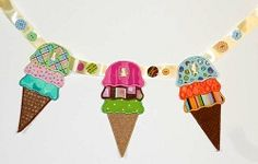 Ice Cream Cone Banner Add On - 3 Sizes! | In the Hoop | Machine Embroidery Designs | SWAKembroidery.com Abigail Michelle