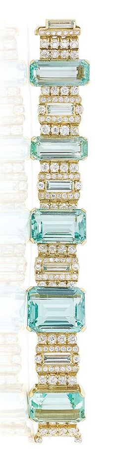 Gold, Aquamarine and Diamond Bracelet.  -- 20 Gorgeous Aquamarines - Style Estate -