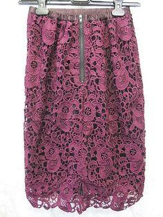 フェリシモ LABEL COLLECTION BASIC スカート フレア 膝丈 花 レース かぎ編み バックジップ 裏フリース ボルドー 61-89 【中古】