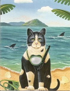 Kudos to this cool, creative scuba cat!