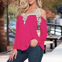 ZANZEA Lace Patchwork 2017 Women Sexy Blouse Summer Blusas Off Shoulder V Neck Shirt Ladies Long Sleeve Plus Size Tee Tops