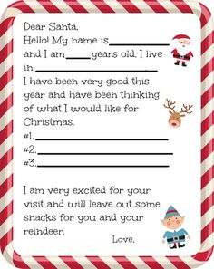 If you have little ones at home it's that time of year where they are writing Dear Santa letters. For the young ones let this fill in the blank Dear Santa letter help! Christmas List Printable, Free Printable Santa Letters, Free Letters From Santa, Letter Templates Free, Letters For Kids, Printable Calendar Template, Free Printables, Letter To Santa Template, Printable Cards