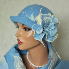 Blue hat felted, Cloche felt hat, Blue white brooch, Romantic hat glamorous,  Accessories woman