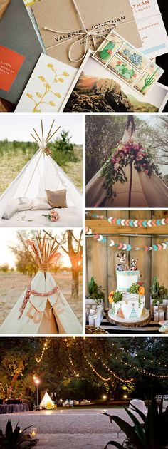 Rustic, Glamping, tee pee party decor.