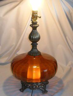 Vintage Mid Century Modern Amber Glass Table Lamp Hollywood Regency