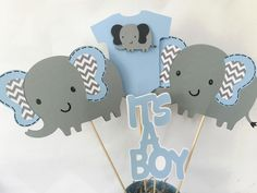 Elephant Baby Shower Centerpiece in Blue and Gray, Elephant Theme Baby Shower Decorations by AllDiaperCakes on Etsy https://www.etsy.com/listing/232263103/elephant-baby-shower-centerpiece-in-blue