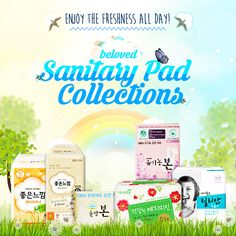 Stay comfortable and relaxed during the time of the month with Korean sanitary napkins.  Pure cotton cover, herbal ingredients and other many outstanding products available!