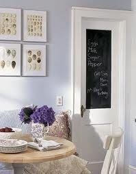 DIY Chalkboard Door/want to make my pantry door like this one, love the door handle Chalkboard Pantry Doors, Chalkboard Paint, Chalk Paint, Kitchen Blackboard, Homemade Chalkboard, Magnetic Paint, Magnetic Chalkboard, Kitchen Organization Pantry, Kitchen Pantry