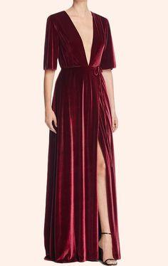 MACloth Deep V Neck Velvet Evening Gown Burgundy Formal Party Dress