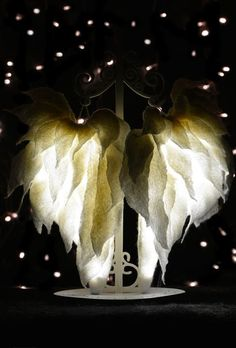 Beautiful felted lamp. Felted night light lamp Wings is made from high quality non-woven wool, beads and wood. It is entirely handmade. This lamp
