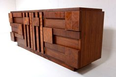 Lane Brutalist Triple Dresser / Credenza | From a unique collection of antique and modern dressers at http://www.1stdibs.com/furniture/storage-case-pieces/dressers/