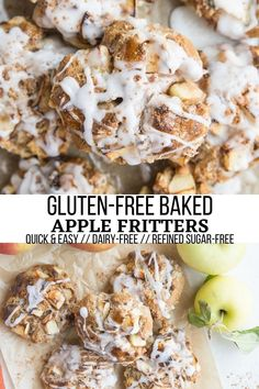 Easy Gluten-Free Baked Apple Fritters made dairy-free are a healthier take on the classic fritter! Perfect for breakfast or dessert. #breakfast #applefritters #apples #applerecipes #glutenfree #dairyfree #healthyrecipe