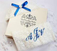 Boxed  2 garter set of personalized Monogrammed wedding garters with pearls and blue ribbon. by realweddinggarters on Etsy
