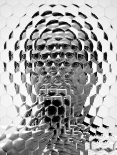 Self portrait, 'Hexagonal Mirror' at Metropolitan Museum of Art, New York | photography black & white . Schwarz-Weiß-Fotografie . photographie noir et blanc | Anish Kapoor |