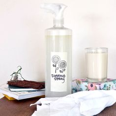 Banish Dust With This Easy Cleaning Spray •3 cups water •1/2 teaspoon Dr. Bronner's soap •1 cup vinegar •1/2 teaspoon olive oil •10-20 drops essential oil (optional)  Directions: 1.Measure and mix the water, soap, and vinegar in a large spray bottle. The vinegar and soap work together to clean and pick up dust without being too harsh on your furniture. And this spray is safe to use on any surface.