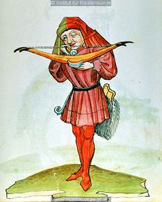 A man shooting a crossbow, Wappenbuch (ÖNB 12820, fol. 184r), c. 1484-1486; he carries a large fur-covered belt-pouch, presumably to carry his bolts, as seen above in ÖNB 2823