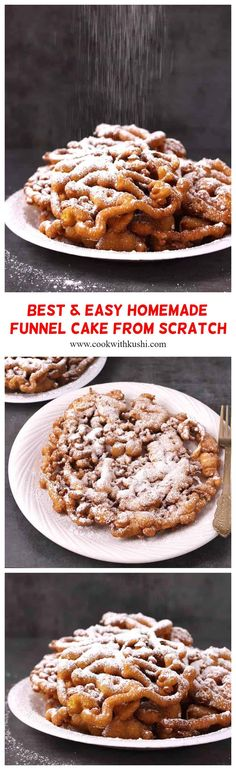 This crispy fried homemade funnel cake is a classic carnival fair favorite food. Enjoy this delicious, simple, and easy funnel cake recipe at home today and throughout the year – or anytime you crave for funnel cakes – with basic ingredients in less than 30 minutes. Healthy Cheesecake, Healthy Cake, Healthy Dessert Recipes, Vegetarian Desserts, Healthy Cookies, Candy Recipes, Delicious Recipes, Cake Recipes At Home, Cake Recipes From Scratch
