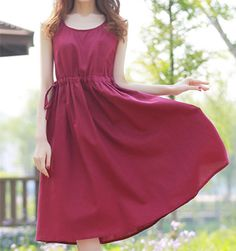 #linenDress #red