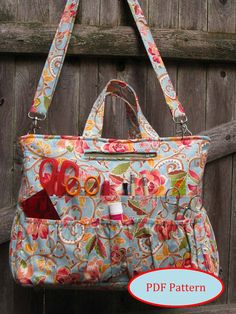 PDF Sewing Pattern for a craft bag with 46 pockets. $10. From Kindred Quilters shop on Etsy.