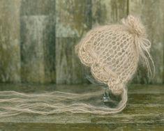 Mohair Newborn Hat Cappuccino Knit Bonnet Baby by SmallandLovely