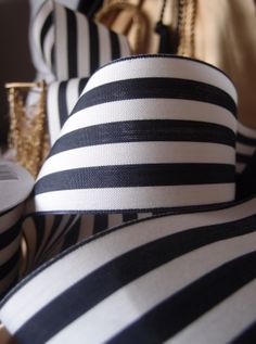 1.5 inch black and white stripe ribbon