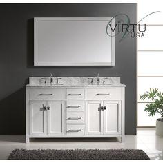 Photo Image Virtu USA Caroline Double Bathroom Vanity Cabinet Set in White in Black Galaxy Square Vanity Set in White Size Double Vanities