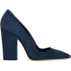 Dee keller - Mara suede chunky heel pumps (415 CAD) ❤ liked on Polyvore featuring shoes, pumps, suede pointy toe pumps, pointed-toe pumps, navy blue pointed toe pumps, block heel pumps y navy shoes