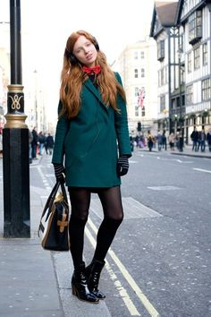 """Nastya Pindeeva, model    """"I've teamed a COS coat with a bow tie from Italy, Calzedonia tights, American Apparel socks, Celine shoes and a bag."""""""