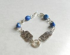 Silver Bracelet, Precious Metal Clay, PMC, with Blue Lapis Lazuli beads.