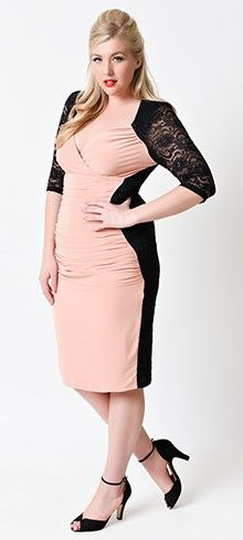 d706a597aba Plus Size Peach   Black Sleeved Valentina Illusion Wiggle Dress Pin Up  Outfits