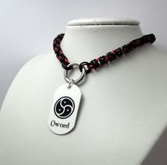 Slave Collar in Black and Red with Ring Clasp and Owned Dog Tag