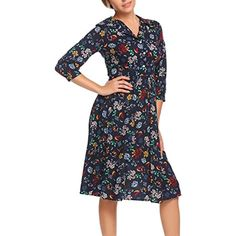 13dced45120 Women s Vintage 3 4 Sleeve V-Neck Pleated Casual Midi Floral Dress   More