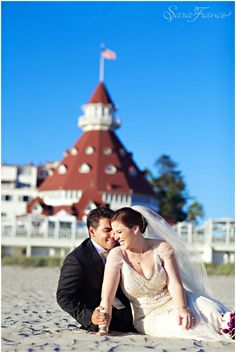 Hotel Del Coronado Wedding ~SARA FRANCE PHOTOGRAPHY~ Bride and Groom. Beach. San Diego. Love. Just Married. Blue Skies.