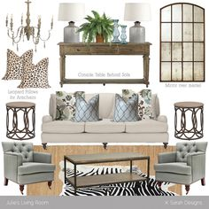 neutral living room ideas | Mood Board // Neutral Rustic Glam Living Room - K Sarah Designs