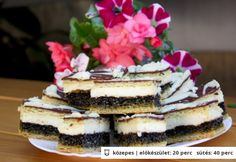 Mákos krémes Divine Chocolate, Sweet Cookies, Cake Bars, Hungarian Recipes, Tiramisu, Cheesecake, Sweets, Breakfast, Ethnic Recipes